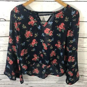 Chic Happens Sheer Floral Top Size Small